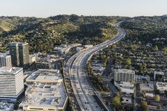 Los Angeles Sepulveda Pass 405 Freeway Afternoon Aerial Royalty Free Stock Photos
