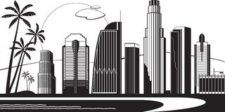 Los Angeles silhouette by day. Vector illustration Stock Photo