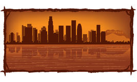 Los Angeles skyline. With reflection in water Stock Photo