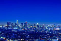 Los Angeles Skyline. At night with a clear sky Royalty Free Stock Photos