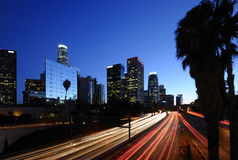 Los Angeles skyline. Los Angeles downtown skyline at night Royalty Free Stock Photography