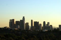Los Angeles skyline. Silhouetted skyline of the city of Los Angeles, California (USA Stock Photos