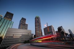Los Angeles skyline. Bus speeding in downtown Los Angeles Royalty Free Stock Photo