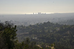 Los Angeles-Skyline in Abstand 9 Stockfoto