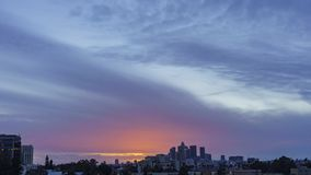 Los Angeles skyline with beautiful clouds stock footage