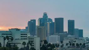 Los Angeles skyline with beautiful clouds stock video footage