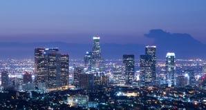 Los Angeles-Skyline bei Sonnenaufgang stockbild