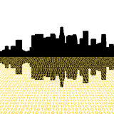 Los Angeles skyline with binary royalty free illustration
