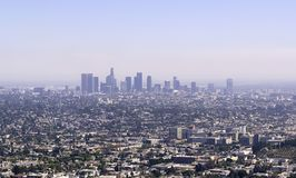 Los Angeles skyline with blue sky copyspace royalty free stock images
