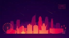 Los Angeles skyline buildings vector illustration. Los Angeles skyline with its most notable buildings, detailed vector illustration Stock Images