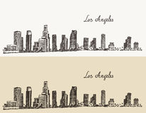 Los Angeles skyline California vintage engraved Stock Images