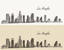 Los Angeles skyline California vintage engraved Stock Images