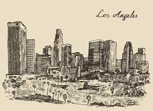 Los Angeles skyline California vintage engraved Royalty Free Stock Photography