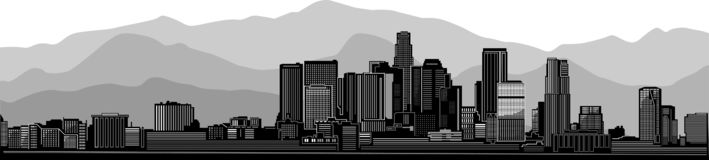 Los Angeles skyline city. Gray mountain view version. Los Angeles city skyline detailed silhouette. Vector Art Design. With Grey mountain view background stock illustration