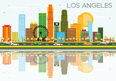 Los Angeles Skyline with Color Buildings, Blue Sky and Reflectio. Ns. Vector Illustration. Business Travel and Tourism Concept with Modern Architecture. Image Stock Illustration