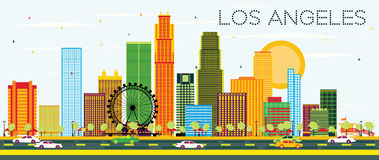 Los Angeles Skyline with Color Buildings and Blue Sky. Royalty Free Stock Photos