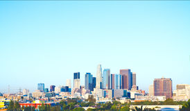 Los Angeles Skyline On A Crisp, Cool Morning. Los Angeles, USA - October 27, 2011: The high rises and skyscrapers of the Los Angleles skyline at twilight on Stock Image