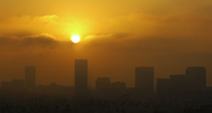 Los Angeles skyline at dawn Stock Images
