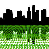 Los Angeles Skyline with dollars. Los Angeles Skyline reflected with dollar symbols illustration Royalty Free Stock Photos