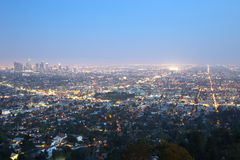 Los Angeles skyline downtown at night. Los Angeles city skyline and downtown buildings at night Royalty Free Stock Photos