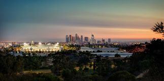 Los Angeles Skyline from Elysian Park. Taken in 2015 royalty free stock images