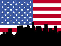 Los Angeles skyline with flag. Los Angeles skyline viewed from Hollywood Boulevard against American flag Stock Image