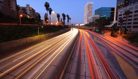 Los Angeles skyline and freeway Royalty Free Stock Photography