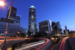 Los Angeles Skyline and Freeway Royalty Free Stock Photos