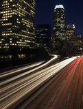 Los Angeles Skyline and Freeway royalty free stock image