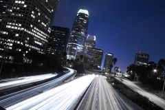 Los Angeles Skyline and Freeway Stock Photos