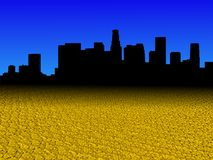 Los Angeles skyline with golden dollar coins foreground illustration. Los Angeles skyline with golden dollar coins foreground and blue sky illustration vector illustration