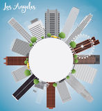 Los Angeles Skyline with Grey Buildings, Blue Sky and copy space Royalty Free Stock Image