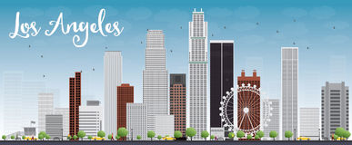 Los Angeles Skyline with Grey Buildings and Blue Sky. Royalty Free Stock Image