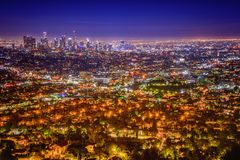 Los Angeles Skyline from Griffith Observatory. royalty free stock image