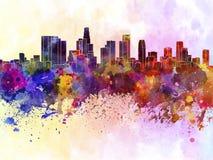 Los Angeles-Skyline im Aquarellhintergrund Stockbild