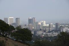 Los Angeles-Skyline im Stadtzentrum gelegen Stockfoto