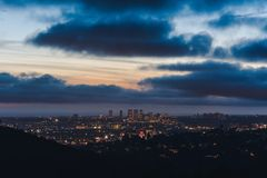 Los Angeles skyline just after sunset royalty free stock photo