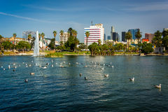 The Los Angeles skyline and the lake at MacArthur Park, in Westl Stock Photos