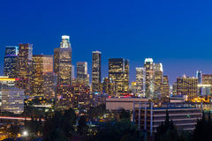 Los Angeles Skyline At Night. With blue night sky Stock Photography