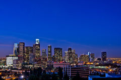 Los Angeles Skyline At Night. Against a Rare Clear Blue Sky Royalty Free Stock Photography