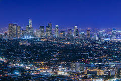 Los Angeles Skyline At Night. Los Angeles skyline on a clear blue night Royalty Free Stock Image