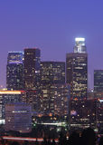 Los Angeles Skyline at Night. View of buildings in downtown Los Angeles Stock Photo