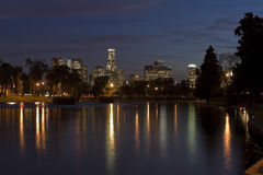 Los Angeles Skyline at Night. Reflected in the water of Echo Lake Royalty Free Stock Images