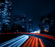 Los Angeles Skyline at Night. Los Angeles Skyline and Freeway at Night Stock Images
