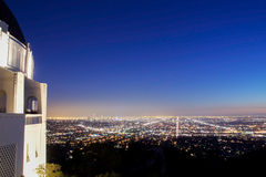 Los Angeles skyline at night Royalty Free Stock Images