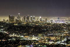 Los Angeles Skyline at Night. From the Griffith Observatory. Photo taken on September 20th, 2015 Royalty Free Stock Image