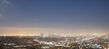 Los Angeles Skyline at Night from a Hill. Los Angeles Skyline at night from atop a hill griffith observatory overlooking the city of Los Angeles Royalty Free Stock Image