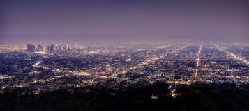 Los Angeles Skyline at Night. Taken in 2015 Royalty Free Stock Images