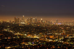 Los Angeles skyline at night. View of the downtown Los Angeles skyline at night, from Griffith Observatory Stock Photo