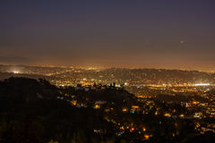 Los Angeles skyline at night. View of the downtown Los Angeles skyline at night, from Griffith Observatory Royalty Free Stock Image
